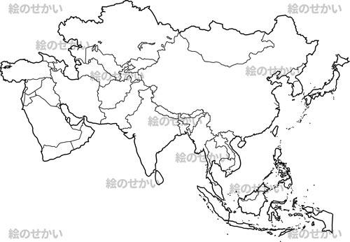 世界の地域地図:ユーラシア+アジア