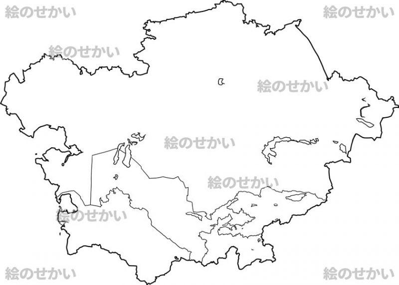中央アジアの白地図セット:中央アジア地域