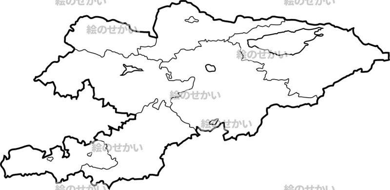 中央アジアの白地図セット:キルギス