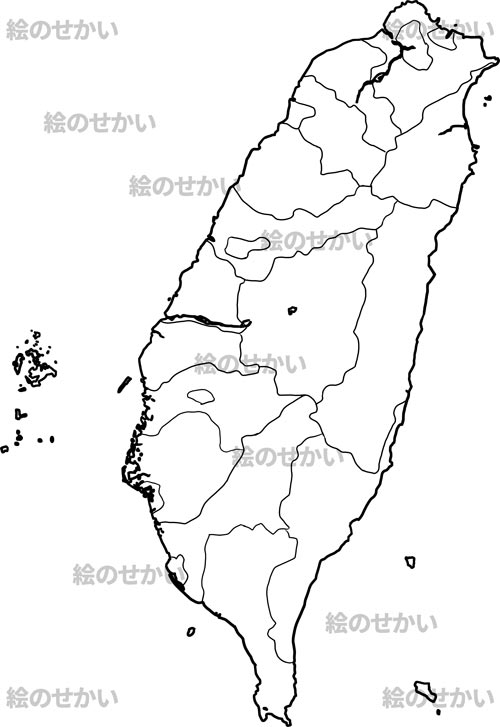 東アジア地域の白地図:台湾
