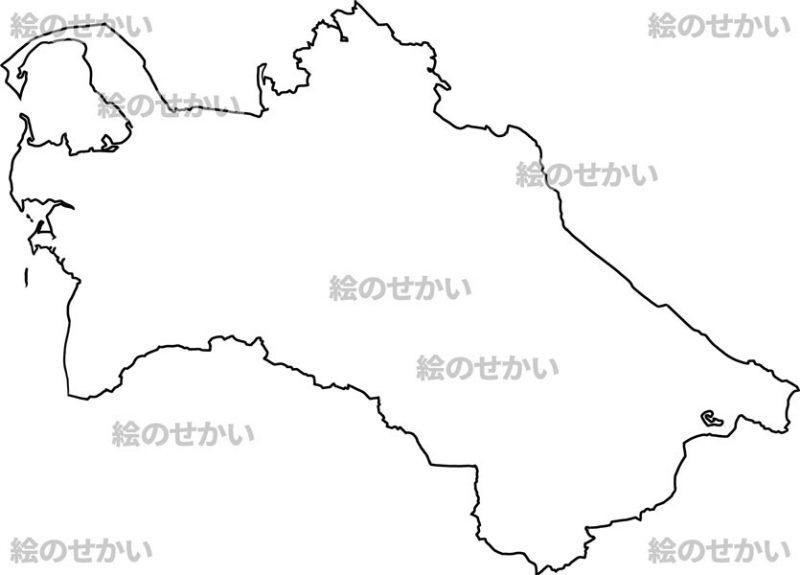 中央アジアの白地図セット:トルクメニスタン