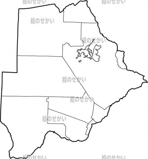 南アフリカの白地図セット:ボツワナ