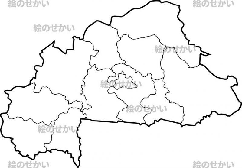 西アフリカの白地図セット:ブルキナファソ
