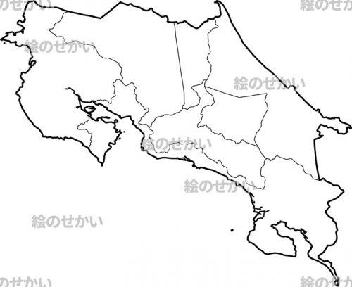 中央アメリカの白地図セット:コスタリカ