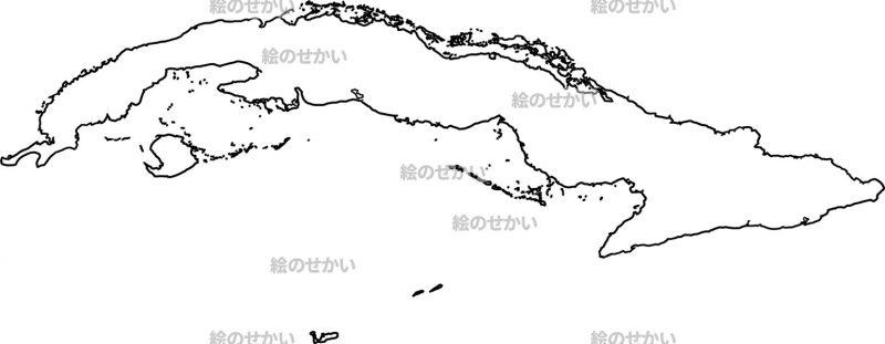 カリブ海の白地図セット:キューバ