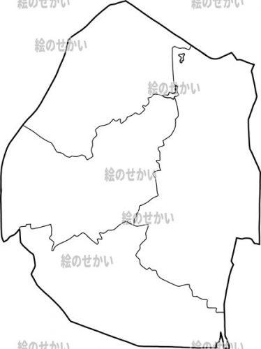 南アフリカの白地図セット:エスティワニ