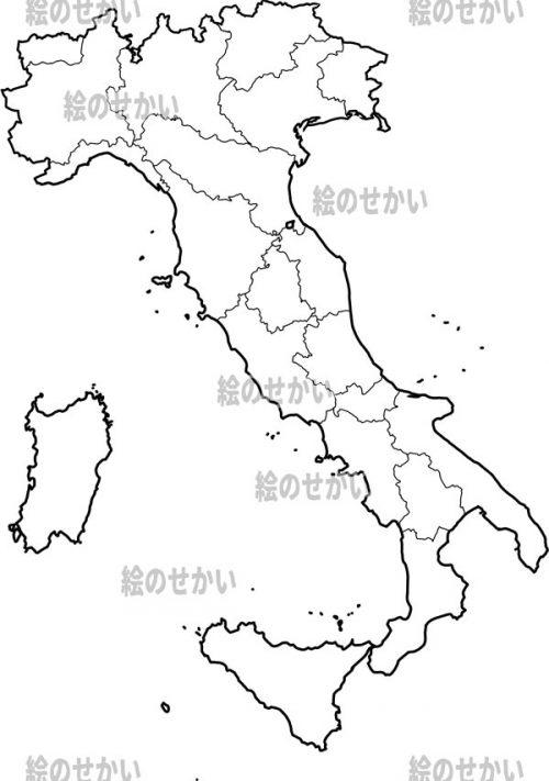 南ヨーロッパの白地図セット:イタリア