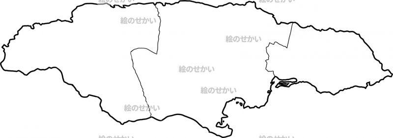 カリブ海の白地図セット:ジャマイカ
