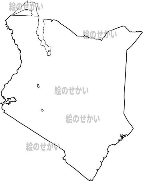 東アフリカの白地図セット:ケニヤ