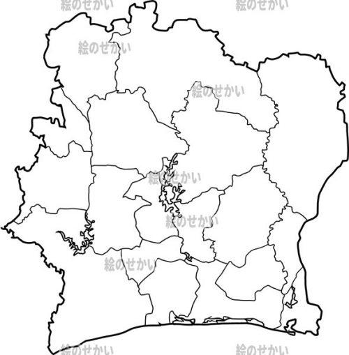 西アフリカの白地図セット:コートジボワール