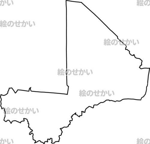 西アフリカの白地図セット:マリ