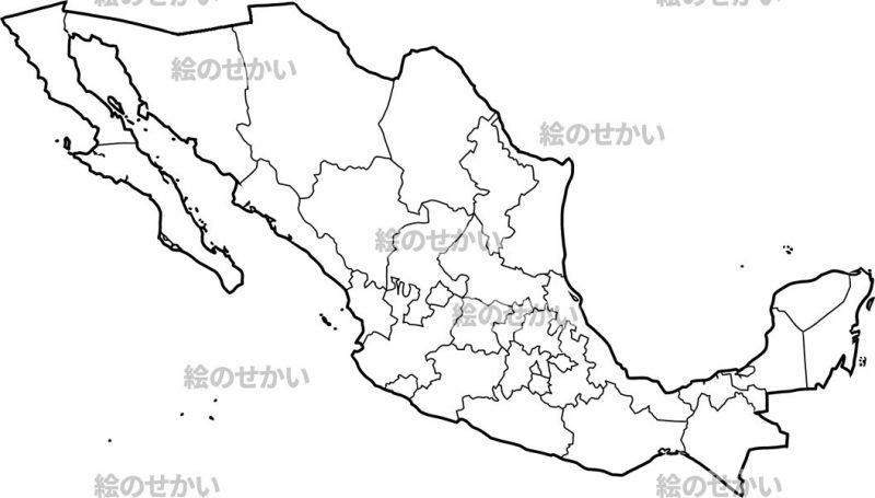 北アメリカの白地図セット:メキシコ