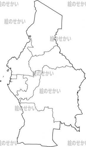中央アフリカの白地図セット:中央アフリカ地域
