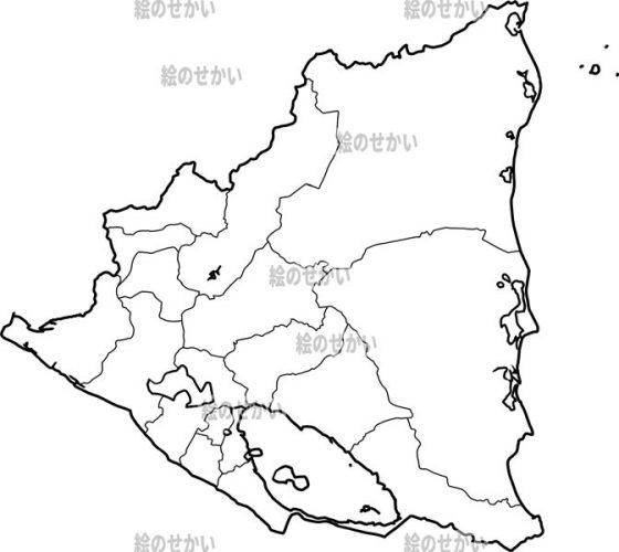 中央アメリカの白地図セット:ニカラグア
