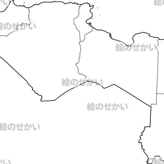 北アフリカの白地図:北アフリカ地域