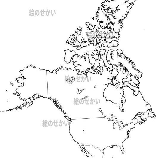 北アメリカの白地図セット:北アメリカ地域