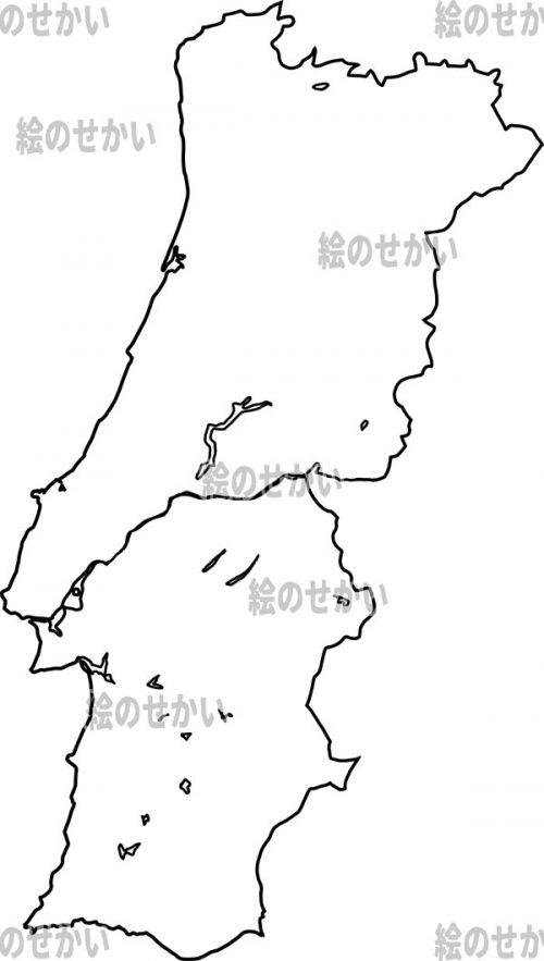 南ヨーロッパの白地図セット:ポルトガル