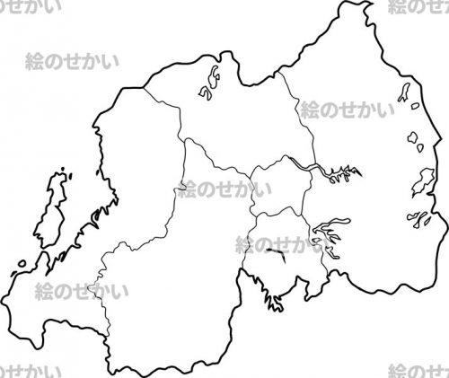 東アフリカの白地図セット:ルワンダ