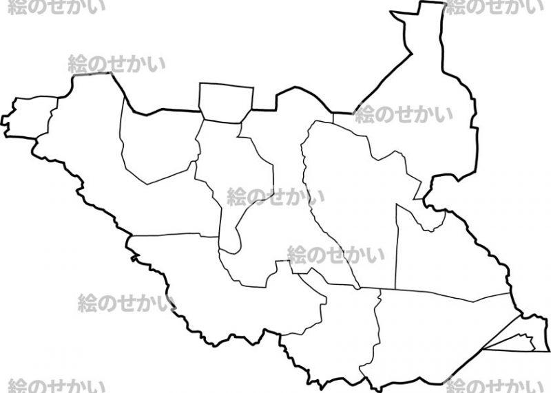 東アフリカの白地図セット:南スーダン