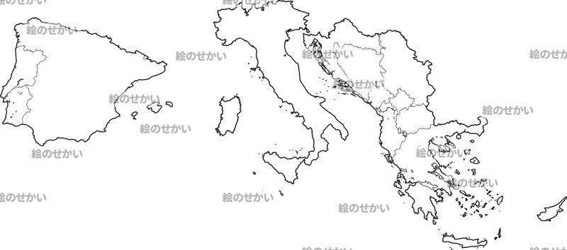 南ヨーロッパの白地図セット:南ヨーロッパ