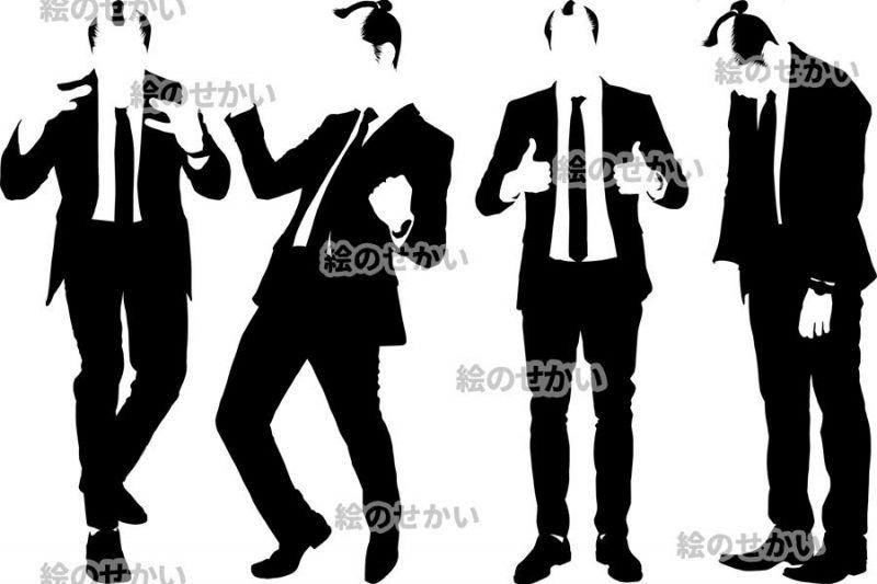 ちょんまげ男性のシルエット素材:サンプル1