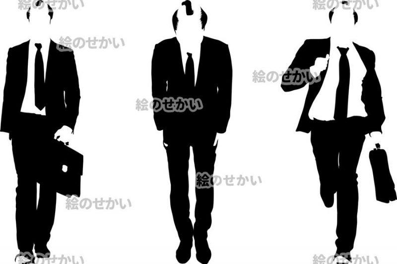 ちょんまげビジネスマンのシルエットイラスト:サンプル1