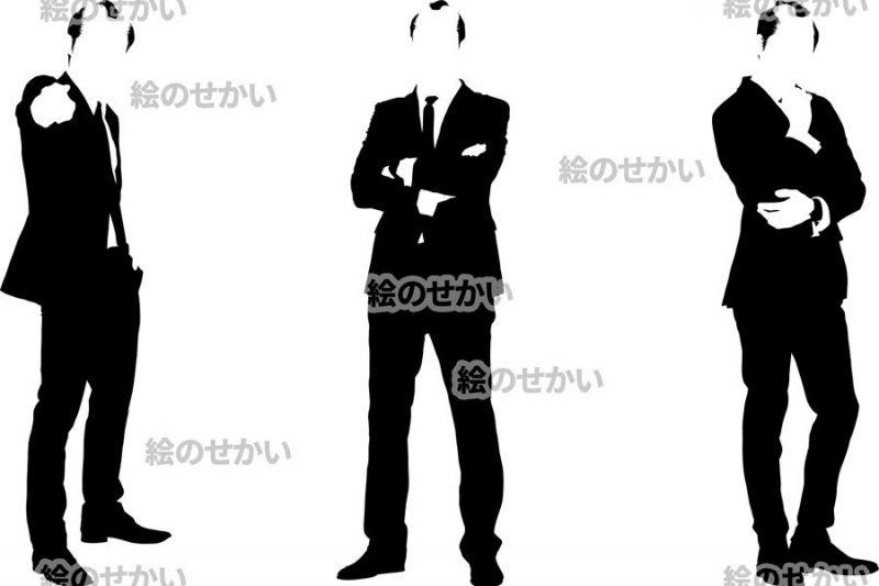 ちょんまげビジネスマンのシルエットイラスト:サンプル2