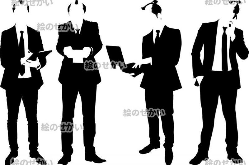 ちょんまげビジネスマンのシルエットイラスト:サ3ンプル