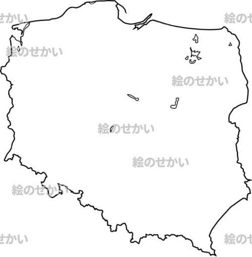 東ヨーロッパの白地図セット:ポーランド