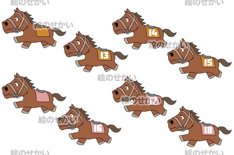 競走馬のイラストセットサンプル1