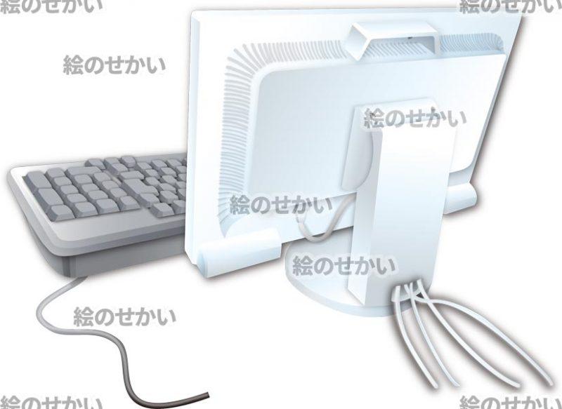 パソコンの裏側のイラストサンプル